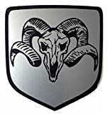24Designs Compatible Front Emblem Dead Ram Skull Silver Replacement for Dodge Neon Srt4 or Charger