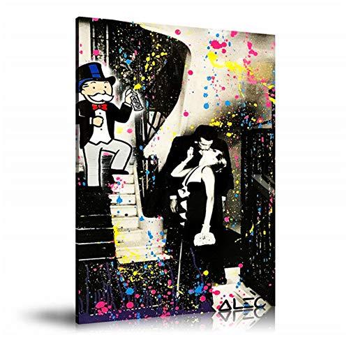 Alec Monopolys Stairway Kisses HD Wall Art Canvas Poster Print Canvas Painting Decorativo para la sala de estar de la oficina Decoración para el hogar -50x70cm Sin marco
