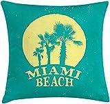 SSHELEY Miami Beach Throw Pillow Fundas de colchón Retro Grungy Trees Redacción Funda de Almohada Cuadrada Decorativa 45 * 45 cm (18x18 Pulgadas)