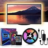 MMcRRx RGB TV LED Hintergrundbeleuchtung LED-Streifen, 60 RGB Leds Lichtkette mit mobiler App Fernbedienung und Infrarot-Fernbedienung, mehrfarbig dimmbar, 5050 LED-Streifen für 32-55 Zoll TV