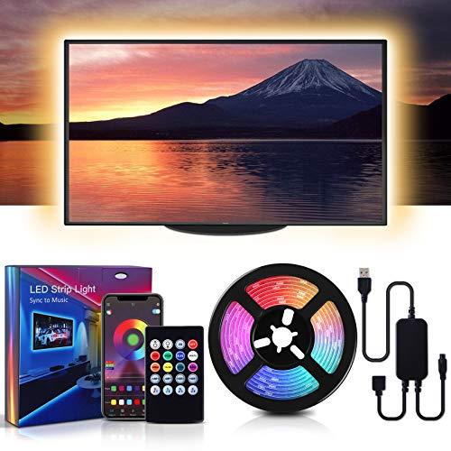 MMcRRx 3M RGB LED TV de Gaza, CADENA 90 RGB LED de luz CON APLICACIÓN MÓVIL teledirigido y control remoto por infrarrojos, COLOR DE INTENSIDAD, 5050 TIRA LED para 42-70 pulgadas de TV