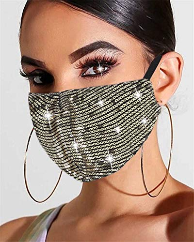 Edary Sparkly Sequins Mask Shiny Glitter Mouth Covers Masquerade Clubwear Halloween Face Masks Jewelry for Women and Girls (Gold)