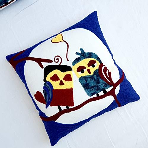 HomeDecorShopie Lovely Owls Bordado Suzani Funda de cojín 16x16 Fundas de Almohada Decorativas de algodón