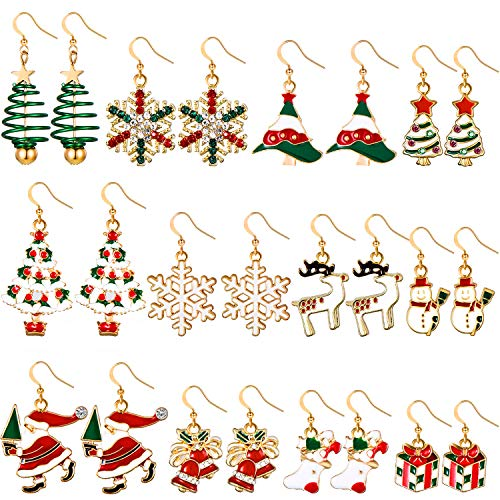 Orecchini Pendenti Natalizi Set di Orecchini Natalizi Gioielli Regalo di Natale per Donne Ragazze Bambini Pupazzo di Neve Fiocco di Neve Orecchino di Babbo Natale Orecchino di Albero Nat (Stile Set 2)