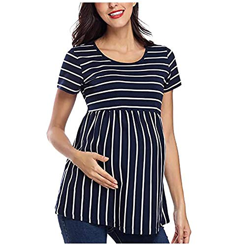 Vuncio Camiseta de premamá de manga corta a rayas, tallas grandes, moda premamá, verano, elegante, camiseta de maternidad azul XL