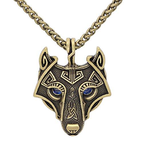 Collar con colgante de lobo vikingo, de oro antiguo, con deslumbrantes ojos azules de zafiro -...