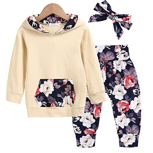trudge 3 Stück Babykleidung Set Neugeborenes Kleinkind Baby Mädchen Langarm Floral Hoodie Sweatshirt+ Hose+ Bogen Stirnband Outfits Warme Kleidung Sets Gelb 0-6 Monate (Etikette 70)