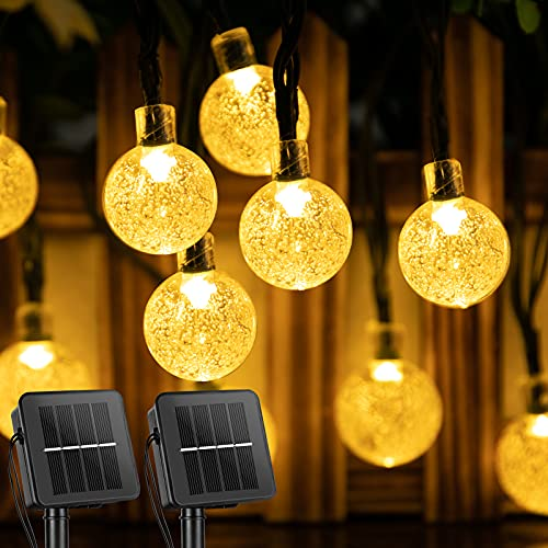 2-Pack Solar String Lights 23.3FT 30 LED Crystal Globe Lights with 8 Modes, Solar Powered Waterproof Fairy Lights for Outdoor Garden Patio Backyard Xmas Holiday Party Decor, Warm White