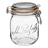 Le Parfait Super Jar - 750ml French Glass Canning Jar w/Round Body, Airtight Rubber Seal & Glass Lid, 24oz/Pint & Half (Pack of 4) Stainless Wire