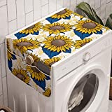 Ambesonne Sunflower Washing Machine Organizer, Graphic Harvest Themed Illustration Cartoon Design, Anti-slip Fabric Top Cover for Washer and Dryer, 47' x 18.5', Earth Yellow Blue