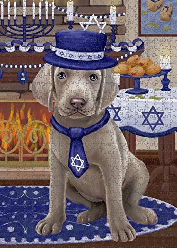 Happy Hanukkah Weimaraner Dog Puzzle with Photo Tin PUZ99188 (252 pc. 11' x 14')