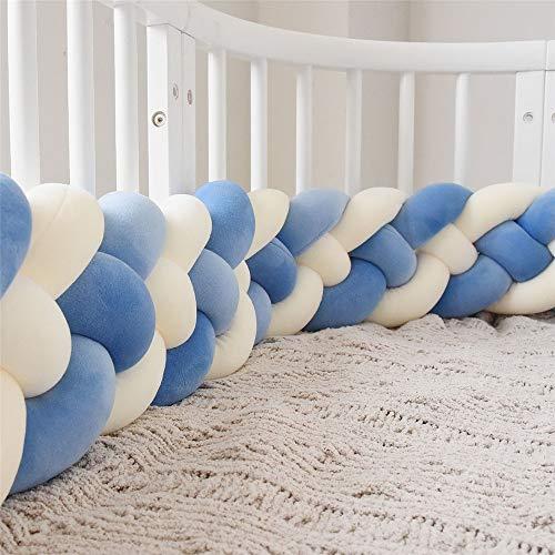 Vinggood Spjälsäng stötfångare fläta kudde baby huvud skydd stötfångare knut fläta kudde kudde för baby säng 220CM D-blue+d-blue+two M-white