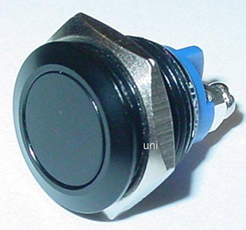 Taster, Klingeltaster, Aluminium, 16mm, schwarz, 1 x Schließer, 36V/3A, S153