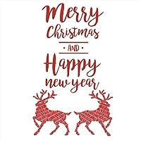 ウォールステッカー クリスマス 飾り 90×90cm シール式 装飾 オーナメント ツリー リース 2019クリスマス 壁紙 はがせる 剥がせる カッティングシート トナカイ 赤 メッセージ 英字 wsl-015090-ws