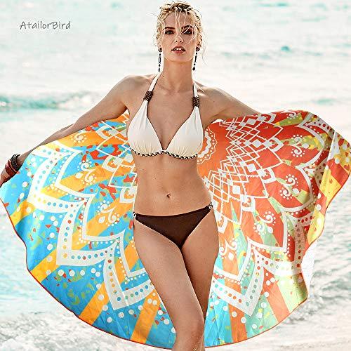 AtailorBird Strandtücher Tragbar Runde 150cm Sand Proof Ultraleicht und Schnelltrocknend Ideal als Strandtuch, Reisetuch, Saunatuch, Badetuch,Picknick Bunt