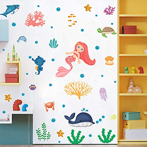 ZXXC Mermaid Wall Stickers Self-Adhesive European And American Children'S Bedroom Decoration Pvc Creative Color Graffiti Stickers