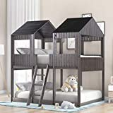 House Bed Bunk Beds Full Over Full Size, Wood Bunk Beds with Roof and Guard Rail for Kids, Toddlers, No Box Spring Needed
