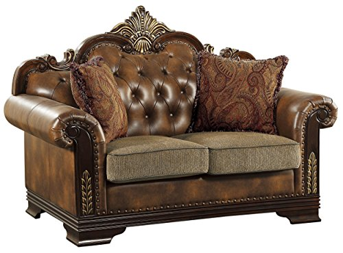 Homelegance Croydon Traditional Two-Tone Love Seat, 65'W, Brown PU Leather