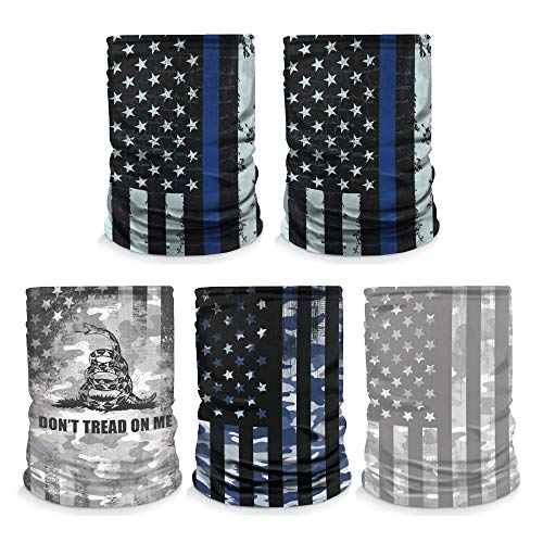 [5 Pack] Neck Gaiter Face Mask, Made in USA, Thin Blue Line/Don't Tread On Me/Blue Camo US Flag. Sun & Dust Protection, Sport Bandanas for Fishing, Motorcycling