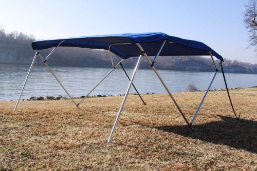"""Vortex New Royal Blue Pontoon/Deck Boat 4 Bow Bimini Top 10' Long, 91-96"""" Wide, 54"""" High, Complete Kit, Frame, Canopy, and Hardware 1 to 4 Business Day DELIVERY"""