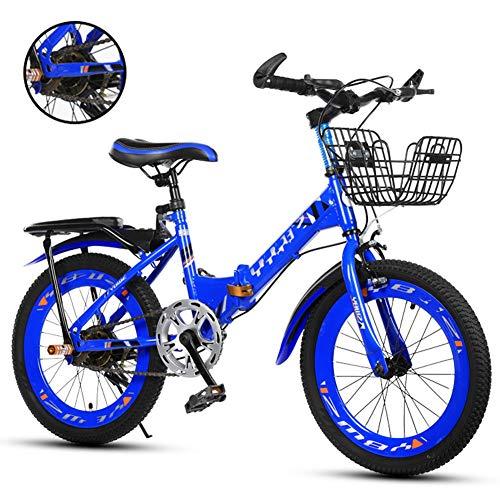 Klappräder Single Speed Kinderfahrräder, Kinder Leicht Klappfahrrad Fahrrad, 18 Zoll, 20 Zoll, 22 Zoll,Blau,20 inches