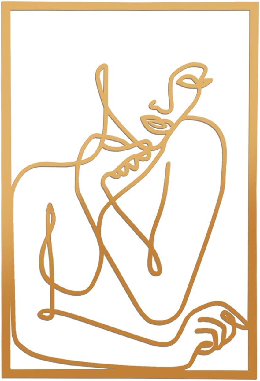 Gold Female Wall Decor Set, Minimalist Line Art Prints, Abstract Woman's Body Shape Wall Decor Art Print Poster, Metal Modern Abstract Wall Drawing Bathroom Acrylic Painting(Woman)