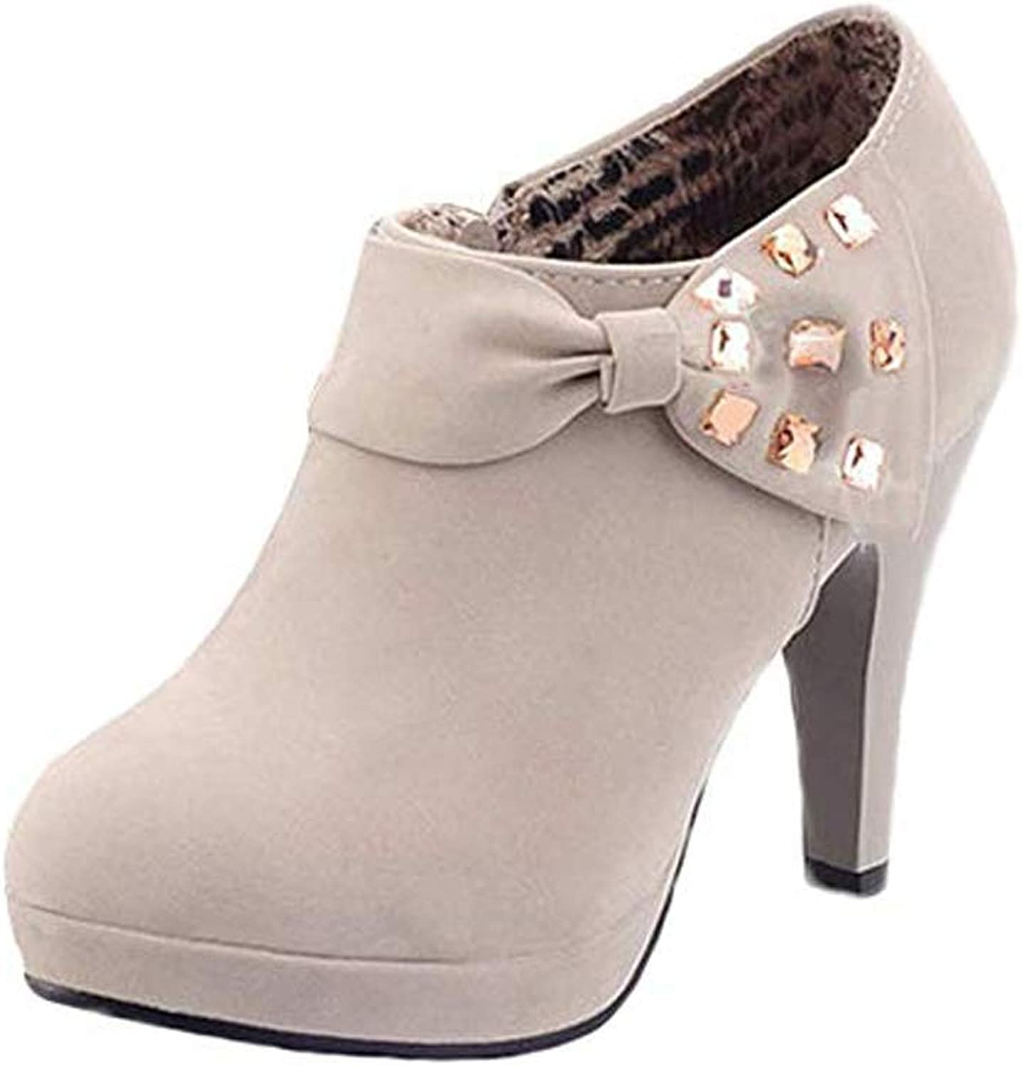 MayBeste Women Vintage Bowknot Pump Platform Low Top High Heel Ankle Boots Party Bridal shoes