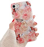 Qokey Compatible with iPhone SE 2020 Case,iPhone 8 Case,iPhone 7 Case 4.7 inch Flower Cute Fashion Cover for Women Girls 360 Degree Rotating Ring Kickstand Soft TPU Shockproof Cover Rose Butterfly