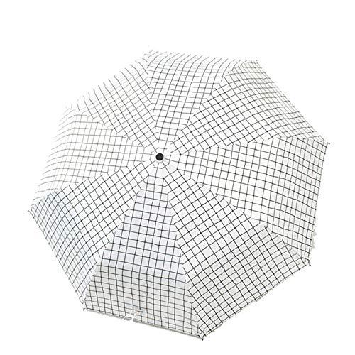 2021 Paraguas Tri-Plegable Lattice 8-Bone Black Glue Sunshade El paraguas publicitario femenino se puede personalizar-Manual de celosía de vinilo Nine Plywood-White