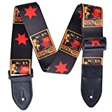 PUNK Polyester Colorful Painting Guitar Strap for Acoustic and Electric Guitars Unique Patterns (Pentagram)