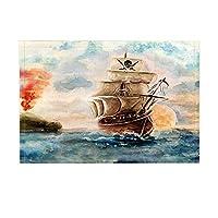 Amxxy 海の装飾バス敷物海賊船が海で滑り止め滑り止め玄関床玄関屋内玄関マット浴室敷物低反発子供バスマット15.7x23.6in