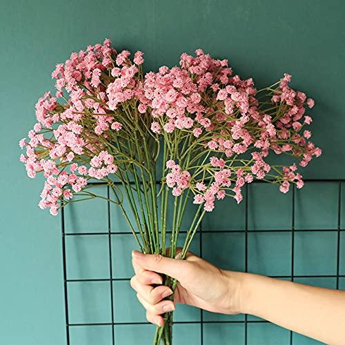 Kaftor Flores artificiales de gypsophila de color blanco y rojo rosado