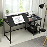 """Sedeta Drafting Table, 55"""" Drawing Table with Adjustable Tiltable Tabletop, Multi-Function Office Desk with Storage Shelves, Large Computer Writing Desk Artist Craft Workstation for Painting, Black"""