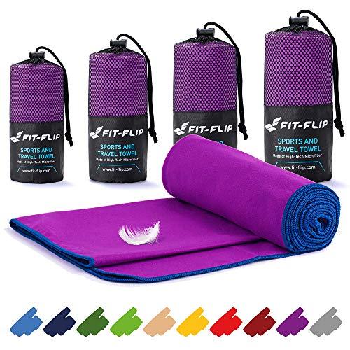 Toalla microfibra – en todos los tamaños / 16 colores – ultraligera y compacta – toalla secado rapido – toalla playa microfibra y toalla deporte gimnasio (40x80cm violeta - borde azul oscuro)