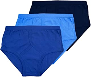3X Pairs of Mens Traditional 100% Cotton Y Style Briefs/White/Mixed Blue/S, M, L, XL, XXL, 3XL, 4XL, 5XL