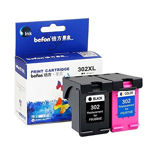 befon 302x l cartuchos de tinta de repuesto para HP 302XL f6u68ae F6U67AE color negro pack de 2Compatible para HP DeskJet 1110, 1111111221302131213236304520