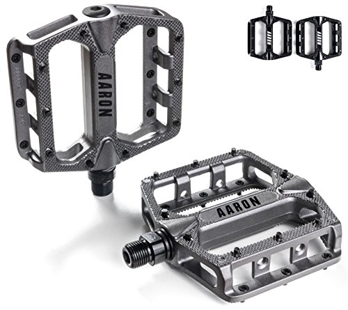 Aaron Rock Plattform Mountainbike/MTB/Flat Pedale mit hochwertigen Industrie-Kugellagern und Top Grip, Trekking, E Bike Fahrradpedale aus Alu, Grau