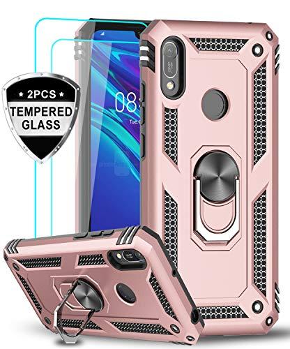 LeYi Funda Huawei Honor 8A / Y6 2019 con [2-Unidades] Cristal Vidrio Templado,Armor Carcasa con 360 Grados Anillo iman Soporte Hard PC y Silicona TPU Bumper Antigolpes Case para Movil Y6 2019,Rosa