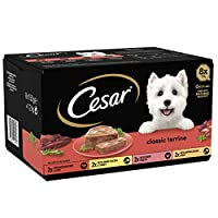 Cesar dog food tray includes eight classic terrine complete dog food options including: tender Chicken and Turkey, succulent Beef and Liver, tender Poultry, savoury Chicken and Beef 100 percent Complete and Balanced wet dog food made with high qualit...