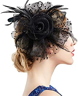 BABEYOND Bridal Wedding Fascinator Mesh Feather Fascinator Hair Clip Tea Party Fascinator Veil Crystal Wedding Veil