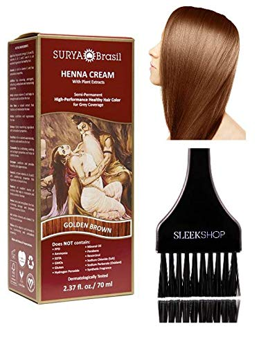 Surya Brasil All Natural HENNA Hair Color CREAM Plant Extracts, Semi-Permanent for Grey Coverage (with Brush) Brazil (GOLDEN BROWN)
