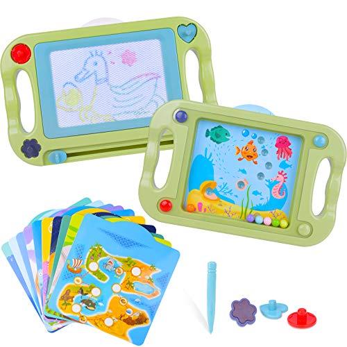 Lavagna Magnetica per Bambini Tavoletta Grafica Bifacciale con Equilibrio Palla, Tavolo da Disegno Magnetico Giocattolo Educativo per Pittura e Scrittura Bambini Natale Regalo Compleanno per Bambini