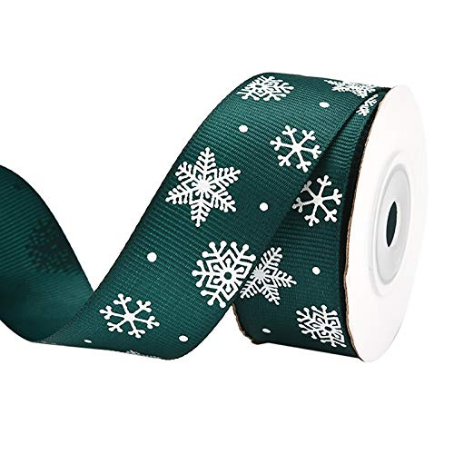 Yamart Christmas Ribbon Gift Wrapping Printed Grosgrain Satin Ribbons for DIY Craft, Wedding Party Garden Home Decoration Christmas Wreath Garland Ribbons for Christmas Decoration (C)