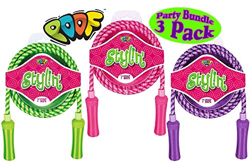 Check Out This Poof Slinky Hot Ropes 7' Stylin' Woven Jump Ropes Pink, Purple & Green Gift Set Party...