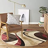 Home Dynamix Tribeca Slade Modern Area Rug, Abstract Brown/Red 5'2' Round