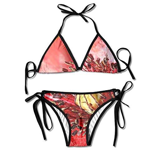 Red Australian Kangaroo Flower Bikini Women's Summer Swimwear Triangle Top Bikinis Swimsuit Sexy 2-Piece Set