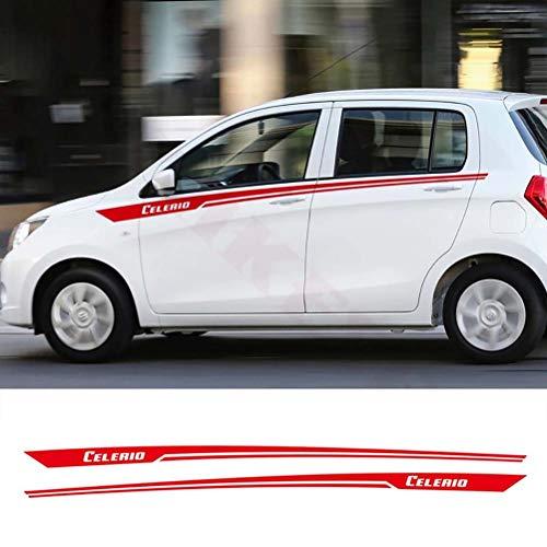 2 uds, Pegatina de decoración de línea de cintura de coche, pegatinas de rayas de estilo deportivo, calcomanía de cuerpo de coche, calcomanías de vinilo, accesorios para Suzuki CELERIO