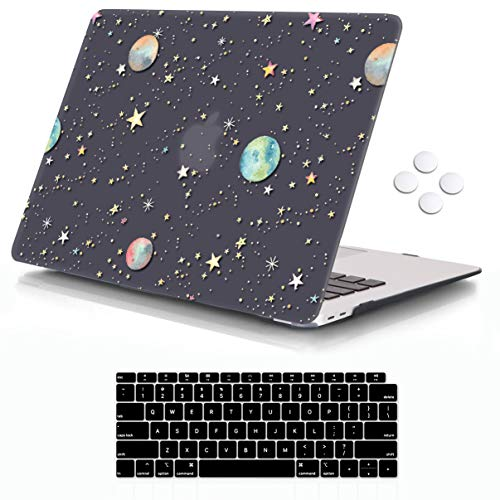 iCasso MacBook Air 13 Inch Case 2020 2019 2018 Release A1932/A2179 with Retina Display Touch ID, Durable Hard Plastic Shell Case and Keyboard Cover Compatible Newest MacBook Air 13 - Starry Night