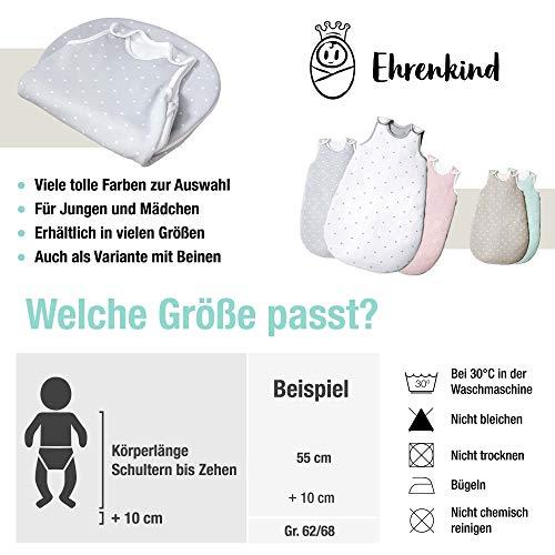 Ehrenkind® Babyschlafsack Rund | Bio-Baumwolle | Ganzjahres Schlafsack Baby Gr. 50/56 Farbe Mint mit weißen Sternen - 6