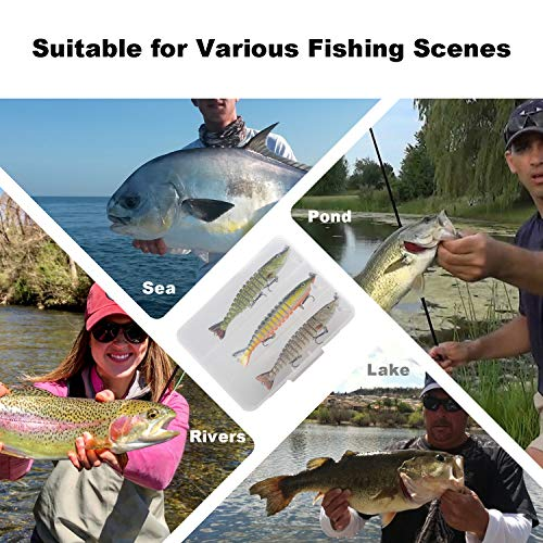 Bass Swimbaits,Lifelike Multi-Jointed Swimbaits, Fishing Lures for Bass, Walleye, Trout,Perch,Slow Sinking Bionic Swimming Lure Freshwater Saltwater, Hard Bait for Bass,Fishing Gifts for Men